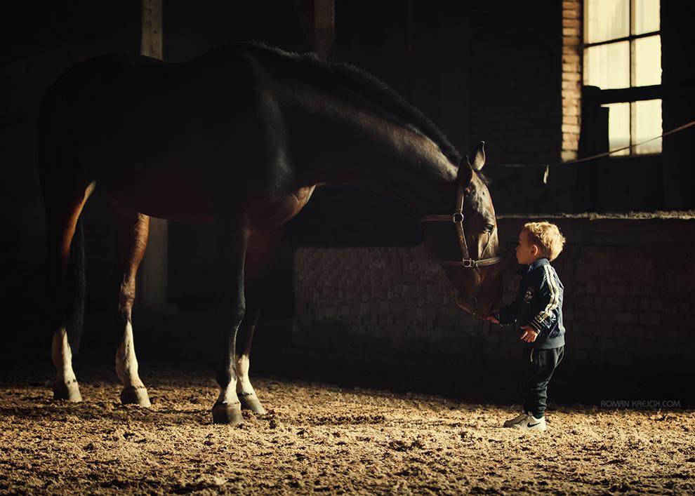 Focení kůň díte